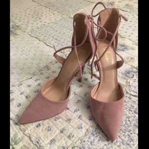 Lulu's Suede Lace-Up Heels